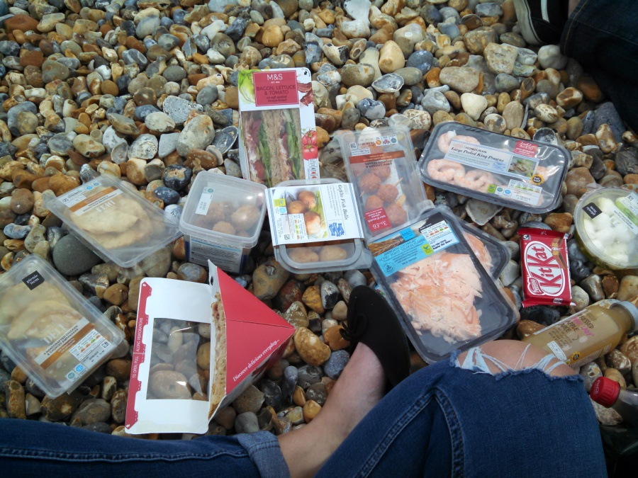 Picnic from Marks & Spencer on the Beach